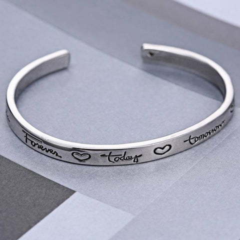 Friends Forever Today Tomorrow Always Engraved Bracelet - Friendship Jewelry