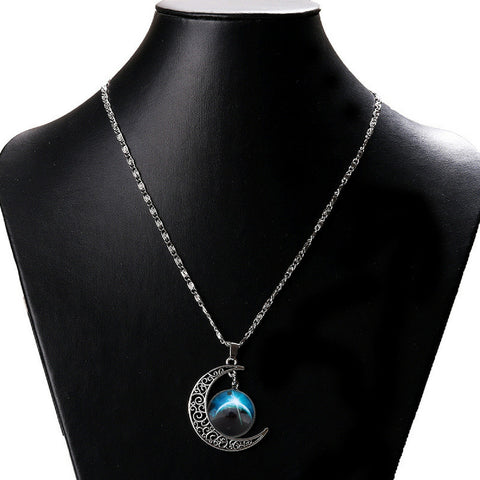 Galaxy & Crescent Cosmic Blue Moon Necklace