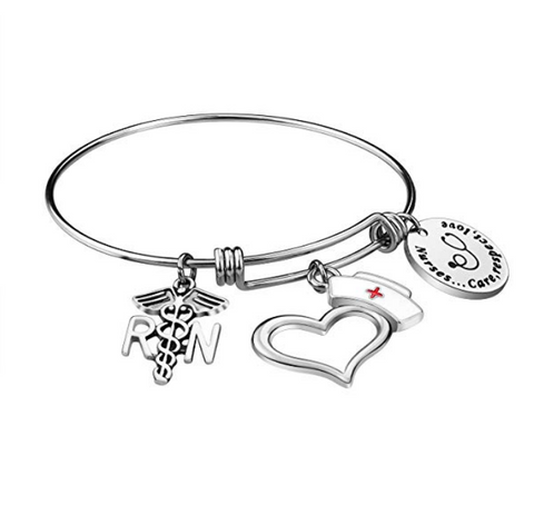 Luvalti Nurse Bangle Bracelet Gifts - Women Girl Expendable Caduceus Angle Charm Bracelet Nursing Jewelry Nurse Bracelet Christmas Birthday Graduation Gift, Stainless Steel