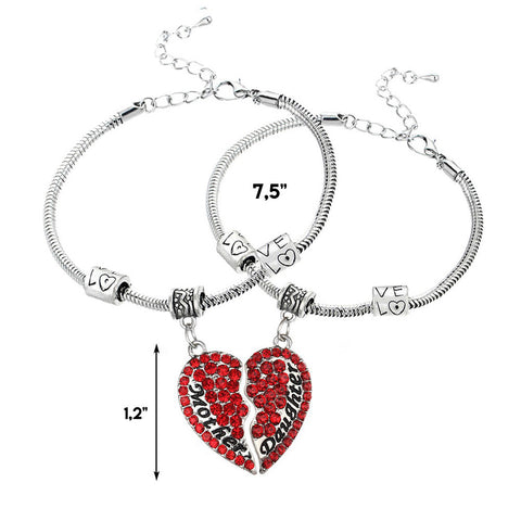 Set of 2 Red Mother & Daughter Heart Bracelets
