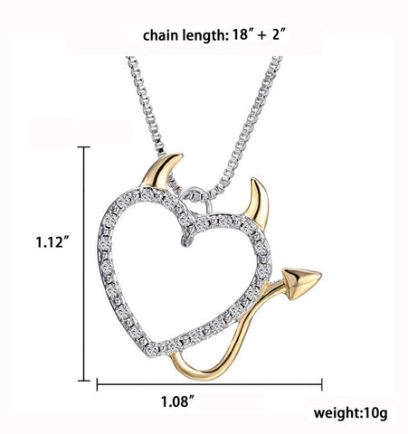 Devil Heart Pendant Necklace