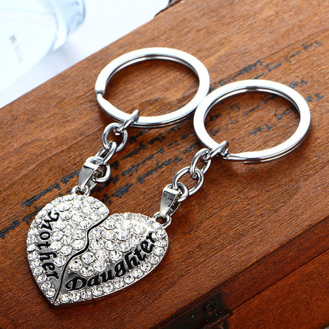 Set of 2 Mother & Daughter Heart Keychain