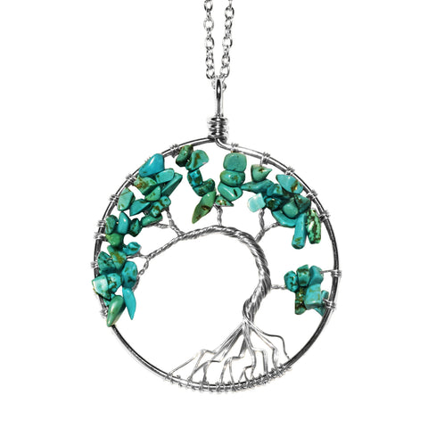 Luvalti Tree of life - Gemstone Chakra Jewelry Blue Silver Chain Necklace