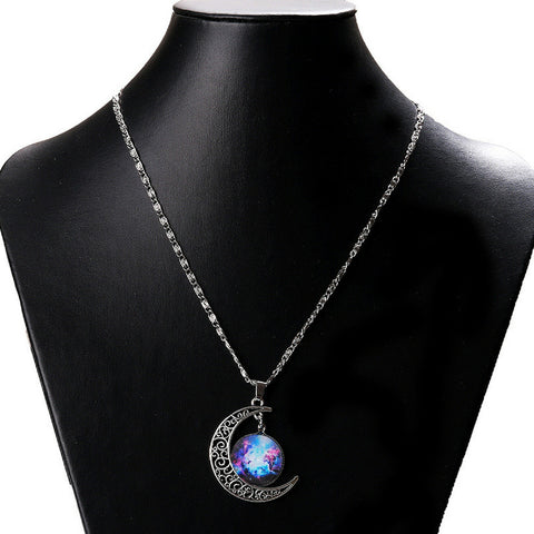 Galaxy & Crescent Cosmic Purple Blue Moon Pendant Necklace