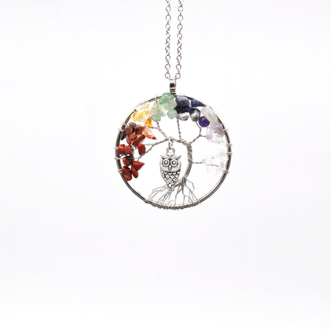 Tree of life - Gemstone Chakra Jewelry Colorful Owl Silver Chain Necklace