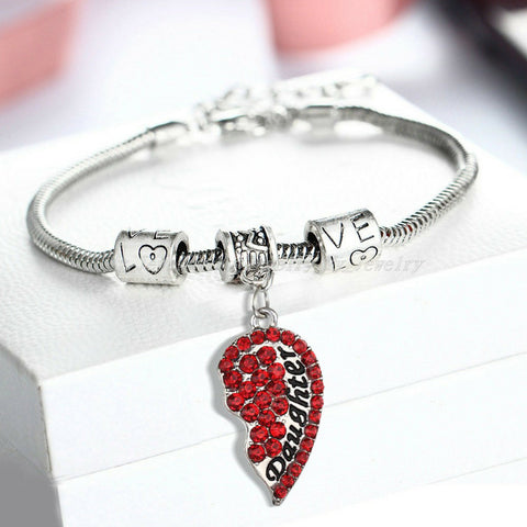 Daughter Red Half Heart Pendant Bracelet