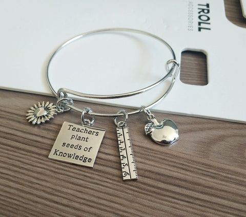Teacher Bangle Bracelet Teacher Appreciation Gift