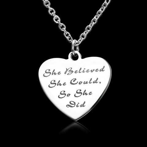 She Believed she Could so she did - Pendant Necklace, Secret Santa Christmas