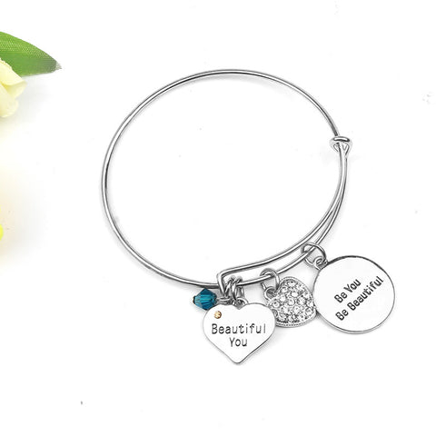 Luvalti Bangle Bracelet Engraved Beautiful you, Be you, Be beautiful Inspirational Jewelry, for Christmas Day, Thanksgiving Day and Birthday Charm Bracelet Adjustable Bangle Gift for Women Girl Sister