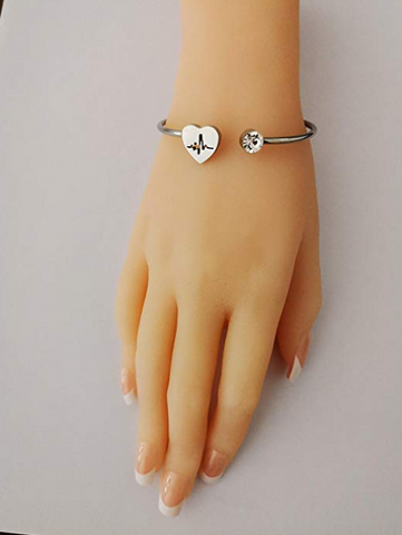Womens Path Symbols - Love Nurse Bracelet, Heartbeat EKG