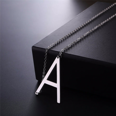 Stainless Steel Initial Necklace Letter A - Large Alphabet Pendant Necklace ♥Christmas Gift for Her♥