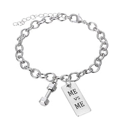 ME vs ME Inspirational Pendant Bracelet - Best Motivational Gift - Weight Plate Barbell Dumbbell Pendant Bracelet