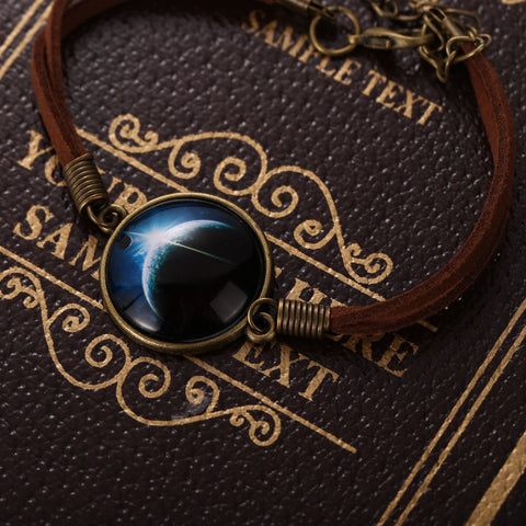 Galaxy & Cosmic Blue Moon Pendant Bracelet