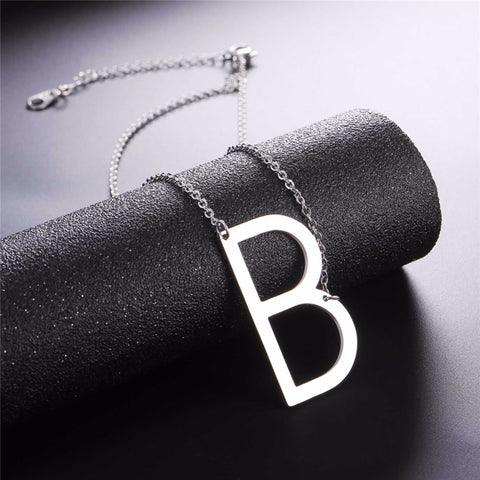 Stainless Steel Initial Necklace Letter B - Large Alphabet Pendant Necklace ♥Christmas Gift for Her♥