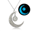 Image of Initial Necklace Letter C - Glow in the dark Half Moon Necklace ♥Christmas Gifts for Her♥ Alphabet Pendant Necklace