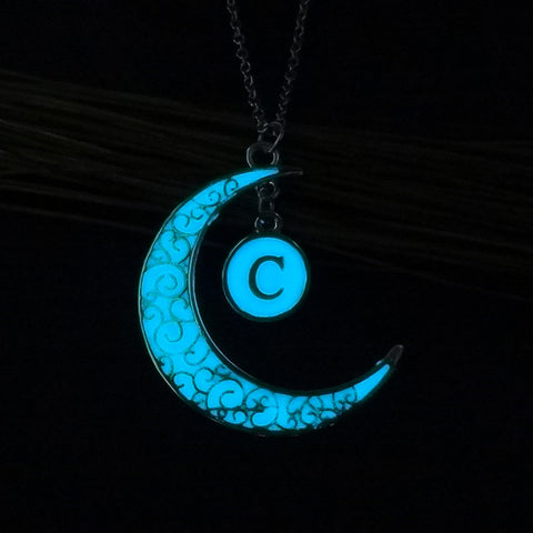 Initial Necklace Letter C - Glow in the dark Half Moon Necklace ♥Christmas Gifts for Her♥ Alphabet Pendant Necklace