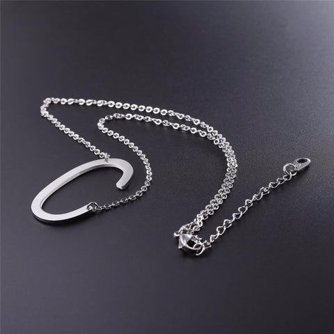 Stainless Steel Initial Necklace Letter C - Large Alphabet Pendant Necklace ♥Christmas Gift for Her♥