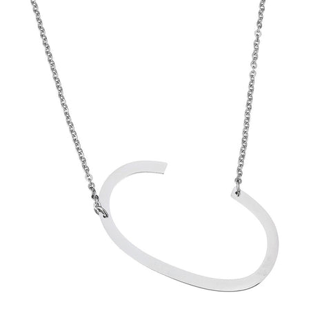 Initial Necklace Letter C - Stainless Steel - Large Alphabet Pendant Necklace