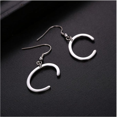 Initial Letter C Stainless Steel Earrings - Alphabet Earrings ♥Special Christmas Gift for Her♥