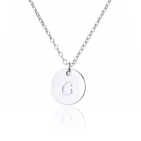 Initial Letter C Stainless Steel Pendant Necklace - Round Alphabet Pendant