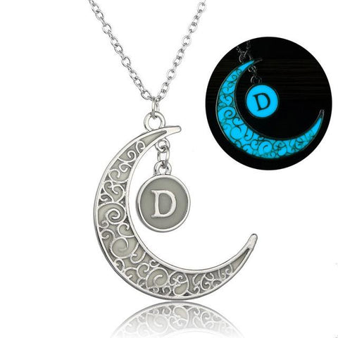 Initial Necklace Letter D - Glow in the dark Half Moon Necklace ♥Christmas Gifts for Her♥ Alphabet Pendant Necklace