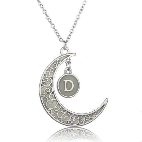 Initial Necklace Letter D - Glow in the dark Half Moon Necklace