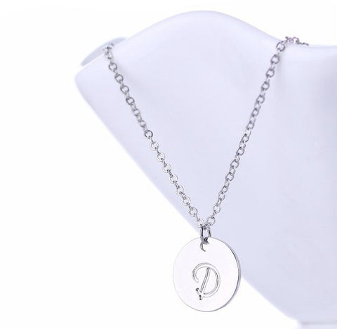 Initial Letter D Stainless Steel Pendant Necklace - Round Alphabet Pendant