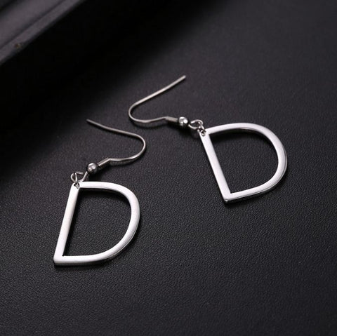 Initial Letter D Stainless Steel Earrings - Alphabet Earrings