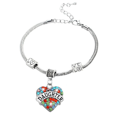 Daughter Pendant Colorful Charm Bracelet
