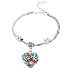 """Daughter"" Multi-Color Charm Bracelet"