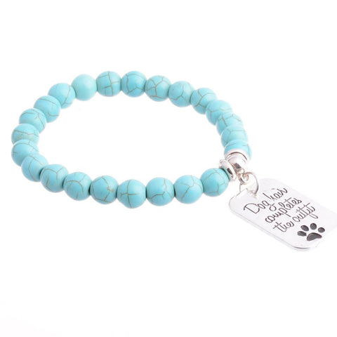 """Dog Hair Completes the Outfit"" Charm Bracelet Paw Print Jewelry"