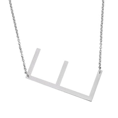Stainless Steel Initial Necklace Letter E - Large Alphabet Pendant Necklace ♥Valentine's Day Gift for Her♥