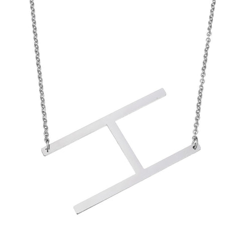 Stainless Steel Initial Necklace Letter H - Large Alphabet Pendant Necklace ♥Christmas Gift for Her♥