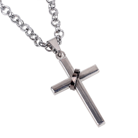 Luvalti Cross and Ring Pendant Necklace - Christian Jewelry for Men and Women