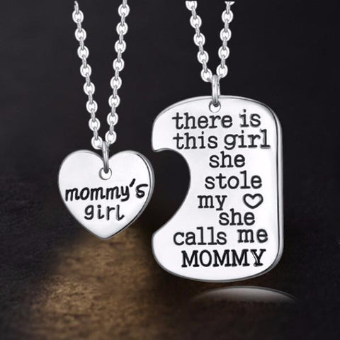 Mommy's Girl - Set of 2 Pendant Necklaces - Mother Daughter Necklace