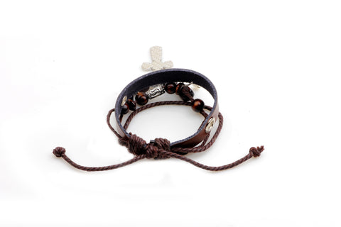 Double Cross Leather Bracelet - Christian Jewelry for Men and Women
