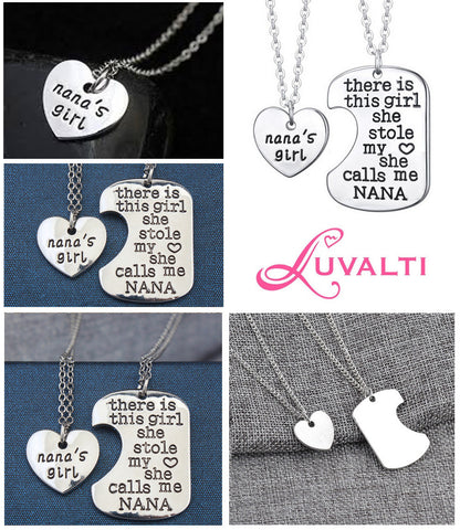 Nana's Girl - Set of 2 Pendant Necklaces - Grandma and Granddaughter Necklace