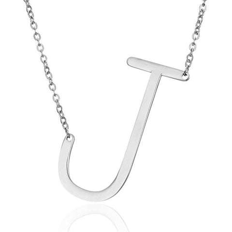 Stainless Steel Initial Necklace Letter J - Large Alphabet Pendant Necklace ♥Valentine's Day Gift for Her♥