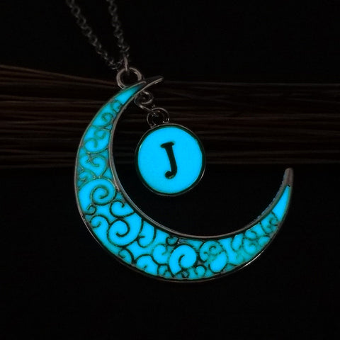 Initial Necklace Letter J - Glow in the dark Half Moon Necklace ♥Christmas Gifts for Her♥ Alphabet Pendant Necklace