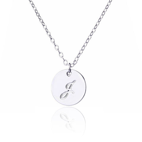 Initial Letter J Stainless Steel Pendant Necklace - Round Alphabet Pendant
