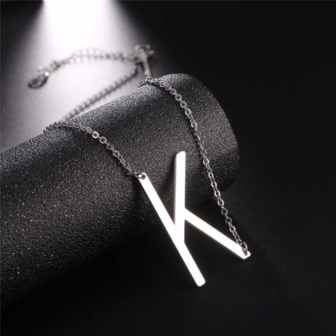 Stainless Steel Initial Necklace Letter K - Large Alphabet Pendant Necklace ♥Christmas Gift for Her♥