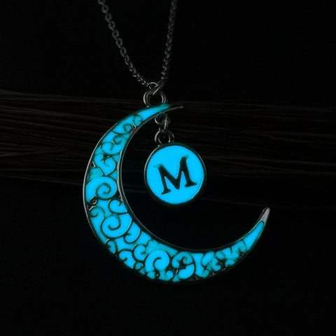 Initial Necklace Letter M - Glow in the dark Half Moon Necklace ♥Christmas Gifts for Her♥ Alphabet Pendant Necklace