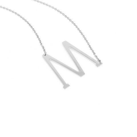 Stainless Steel Initial Necklace Letter M - Large Alphabet Pendant Necklace ♥Christmas Gift for Her♥