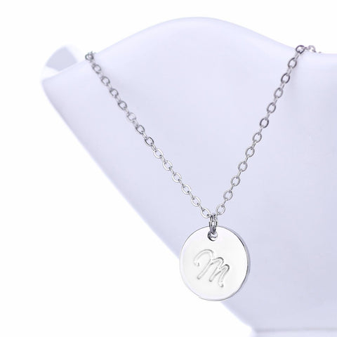Initial Letter M Stainless Steel Pendant Necklace - Round Alphabet Pendant