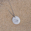 Image of Initial Letter M Stainless Steel Pendant Necklace - Round Alphabet Pendant