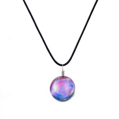 Galaxy & Cosmic Pink Glass Pendant Necklace