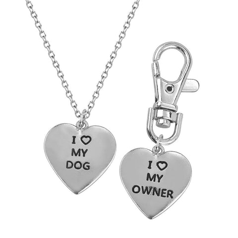Love my Dog Owner Necklace & Keychain Set Paw Print Jewelry