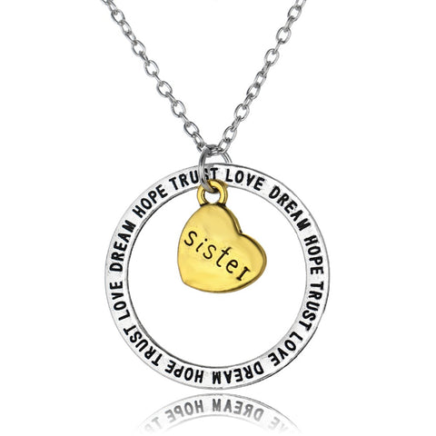 Sister Dream Hope Love Trust Pendant Necklace