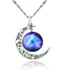 Image of Galaxy & Crescent Cosmic Moon Purple Pendant Necklace