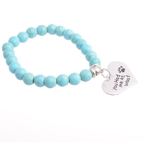 You Had Me at Woof Charm Bracelet Paw Print Jewelry